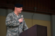 U.S. Air Force Col. James Zirkel, 39th Weapons System Security Group commander, speaks during the Incirlik Police Week 2017 closing ceremony May 18, 2017, at Incirlik Air Base, Turkey. National Police Week began in 1962 after President John F. Kennedy signed a proclamation designating May 15 as Peace Officers Memorial Day and the week in which that date falls as Police Week. (U.S. Air Force photo by Airman 1st Class Devin M. Rumbaugh)