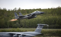 A U.S. Air Force F-15C Fighting Eagle with the 67th Fighter Squadron conducts flight operations during exercise Distant Frontier on Joint Base Elmendorf-Richardson, Alaska, May 18, 2017. Distant Frontier is a unit-level training iteration designed to sharpen participants' tactical combat skills and develop interoperable plans and programs across the joint force.