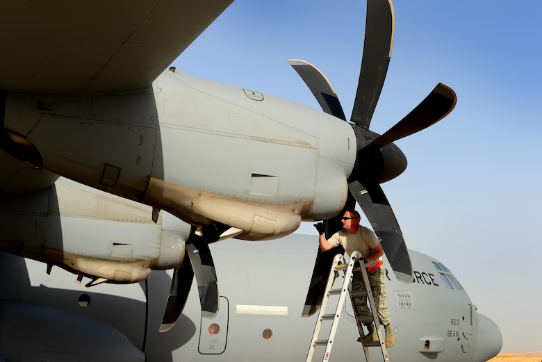 An Airman assigned to the 86th Aircraft Maintenance Squadron, 86th Airlift Wing, Ramstein Air Base, Germany, conducts a visual inspection of a C-130J Super Hercules engine prior to a sortie in support of exercise Juniper Falcon May 14, at Nevatim Air Force Base, Israel. Juniper Falcon 17 represents the combination of several bi-lateral component exercises with Israel Defense Forces that have been executed annually since 2011. These exercises were combined to increase joint training opportunities and capitalize on transportation and cost efficiencies gained by aggregating forces. (U.S. Air Force photo/ Tech. Sgt. Matthew Plew)