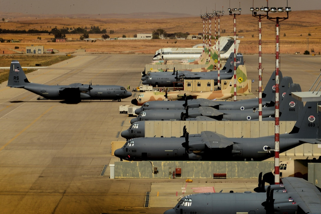 A C-130J Super Hercules assigned to the 37th Airlift Squadron, 86th Airlift Wing, Ramstein Air Base, Germany, taxis to park after completion of a sortie in support of exercise Juniper Falcon May 14, at Nevatim Air Force Base, Israel. Juniper Falcon 17 represents the combination of several bi-lateral component exercises with Israel Defense Forces that have been executed annually since 2011. These exercises were combined to increase joint training opportunities and capitalize on transportation and cost efficiencies gained by aggregating forces. (U.S. Air Force photo/ Tech. Sgt. Matthew Plew)