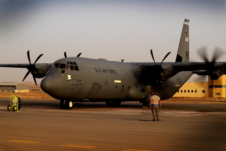Airmen assigned to the 86th Aircraft Maintenance Squadron, 86th Airlift Wing, Ramstein Air Base, Germany, conduct a test of a C-130J Super Hercules engine prior to a sortie in support of exercise Juniper Falcon May 14, at Nevatim Air Force Base, Israel. Juniper Falcon 17 represents the combination of several bi-lateral component exercises with Israel Defense Forces that have been executed annually since 2011. These exercises were combined to increase joint training opportunities and capitalize on transportation and cost efficiencies gained by aggregating forces. (U.S. Air Force photo/ Tech. Sgt. Matthew Plew)