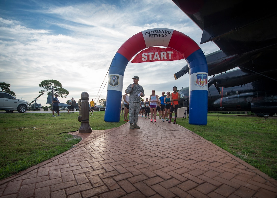 Col. Steven Breeze, vice commander of the 1st Special Operations Wing, speaks to participants during the 2nd Annual Run to Honor event at Hurlburt Field, Fla., May 18, 2017. The Run to Honor is an event held to commemorate Air Commandos, who were lost in the line of duty, through participation in athletic and memorial events. (U.S. Air Force photo by Senior Airman Krystal M. Garrett)