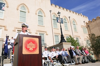 MILLEDGEVILLE, Georgia (May 19, 2017) – Navy Adm. Kurt W. Tidd, commander of U.S. Southern Command, addresses students and faculty at Georgia Military College. Tidd was a guest speaker during the college's Memorial Day Parade. (Photo courtesy of Georgia Military College)