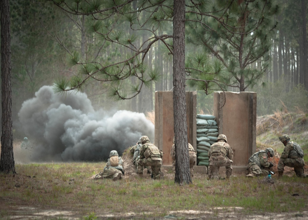 Leaders from the 3rd Infantry Division Sustainment Brigade watch as a claymore anti-personnel mine explodes at a range on Fort Stewart, Ga., March 22. The U.S. Army Engineering and Support Center, Huntsville is the designated the Range and Training Land Program Mandatory Center of Expertise and standardizes ranges and training, while decreasing the overall cost of range design, construction, operation and maintenance as well as implementing new technologies to improve training capability in support of new weapons systems and tactics.