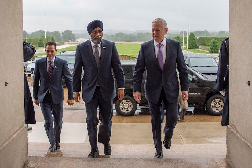 Defense Secretary Jim Mattis hosts Canadian Defense Minister Harjit Sajjan at the Pentagon, May 22, 2017. DoD photo by Air Force Tech. Sgt. Brigitte N. Brantley