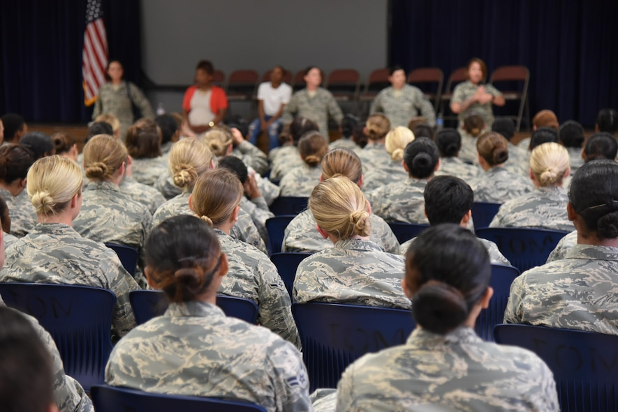 More than 250 female Airmen fill the Community Activity Center for the first ever 82nd Training Wing Female Airmen Forum, May 16, 2017. Five NCO's and the base's director of Military Equal Opportunity led an open discussion about being a female in the Air Force. (U.S. Air Force photo by 2nd Lt. Jacqueline Jastrzebski)