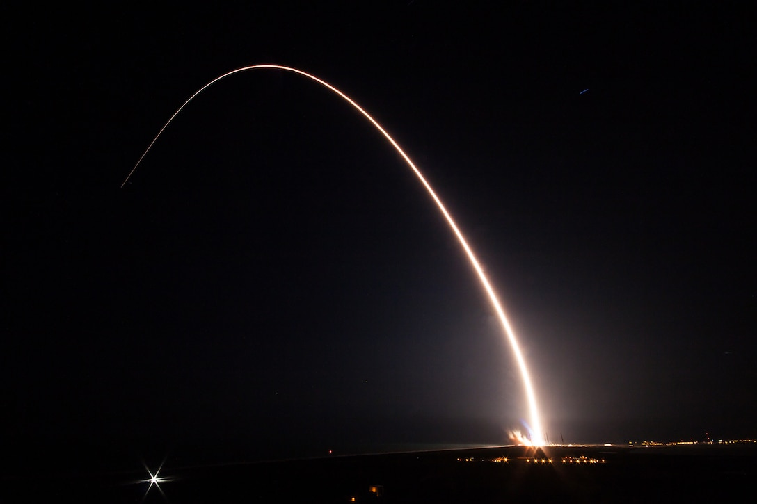 The Air Force successfully launched the ninth Boeing-built Wideband Global SATCOM satellite aboard a United Launch Alliance Delta IV Evolved Expendable Launch Vehicle from Space Launch Complex 37B, Cape Canaveral Air Force Station, Florida, March 18, 2017.WGS satellites play an integral part in the strategic and tactical coordination of military operations. With this launch, WGS-9 will significantly enhance the WGS constellation by providing increased communication capacity and coverage. Courtesy photo by United Launch Alliance