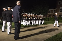 The Marines with Marine Barracks Washington D.C., conduct pass in review at the end of a Friday Evening Parade at the Barracks, May 19, 2017. The guest of honor for the parade was Secretary of Homeland Security, John F. Kelly, and the hosting official was Commandant of the Marine Corps Gen. Robert B. Neller. (Official Marine Corps photo by Cpl. Robert Knapp/Released)