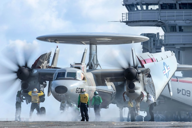 Sailors prepare to launch an E-2D Hawkeye aircraft from the flight deck of the aircraft carrier USS Ronald Reagan in the waters south of Japan, May 19, 2017. The crew is assigned to Airborne Early Warning Squadron 125. Navy photo by Petty Officer 2nd Class Nathan Burke
