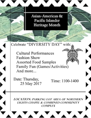 Diversity Day is scheduled to occur at the Combined Community Complex parking lot on Minot Air Force Base, N.D., May 25, 2017, from 11 a.m. to 2 p.m. During the event, there will be food sampling, performances, a fashion show and kids activities. (Courtesy photo)