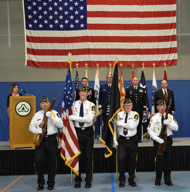 """The American Legion Post 288 out of Cedarburg, Wis., provides color guard support during an """"Our Community Salutes"""" event at Fort McCoy, Wisconsin on Armed Forces Day, May 20, 2017."""