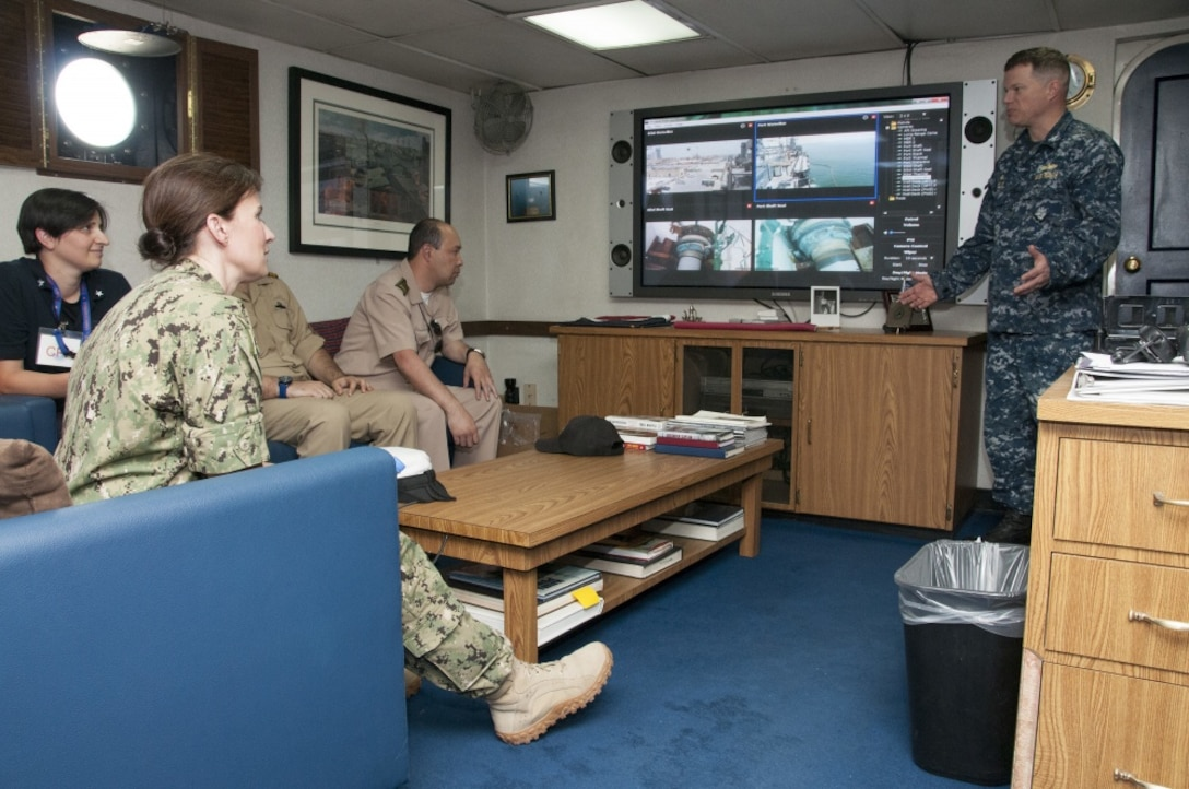 170517-N-OH194-0058 MANAMA, Bahrain (May 17, 2017) Capt. Christopher Wells, commanding officer of Afloat Forward Staging Base (Interim) USS Ponce (AFSB(I)-15), discusses Ponce™s capabilities with participants of the International Maritime Exercise (IMX) 2017. IMX is a command post exercise and includes more than 20 partner nations to promote interoperability, increase readiness in all facets of defensive maritime warfare and demonstrate resolve in maintaining regional security and stability and protecting the free flow of commerce. (U.S. Navy photo by Mass Communication Specialist 1st Class Grant P. Ammon)