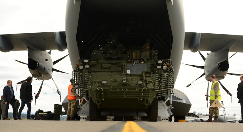 A Stryker vehicle is backed onto a Royal Air Force A-400M aircraft by 1st Stryker Brigade Combat Team Soldiers on the McChord Field flightline on May 18, 2017, at Joint Base Lewis-McChord, Wash. The Soldiers used the training opportunity to prep for Mobility Guardian, where dozens of international partners will be working together with U.S. Air Force and U.S. Army counterparts. (U.S. Air Force photo/Tech. Sgt. Tim Chacon)