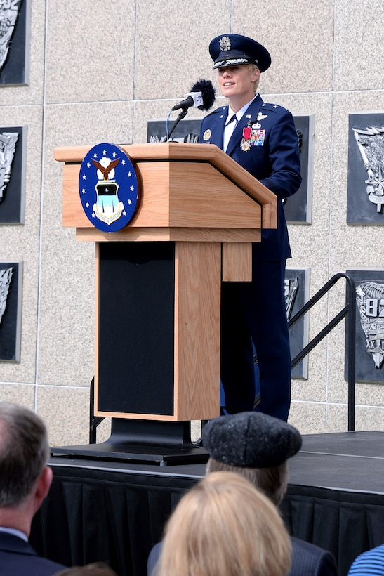 Brig. Gen. Kristin Goodwin, the commandant of cadets at the U.S. Air Force Academy, speaks during her assumption of command ceremony, May 15, 2017. (U.S. Air Force photo/Mike Kaplan)