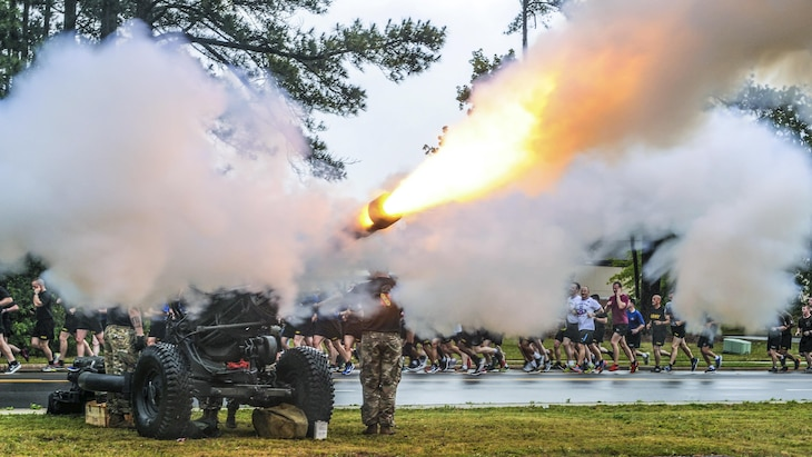 Soldiers fire an M119 howitzer during the All American Week division run at Fort Bragg, N.C., May 22, 2017. The week celebrates the 82nd Airborne Division with events for the division's soldiers and veterans. Army photo by Sgt. Anthony Hewitt