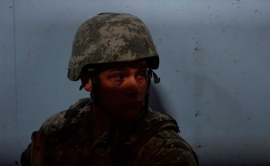 Airman 1st Class Benedetto Mancini, 99th Security Forces Squadron member, clears a hallway during a training scenario in Area II on Nellis Air Force Base, Nev., May 17, 2017. Security Forces personnel are the Air Force's first line of defense, and it is their job to maintain the rule of law on all Air Force bases and installations. (U.S. Air Force photo by Senior Airman Kevin Tanenbaum/Released)