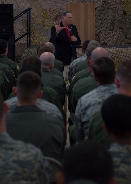 Ret. Gen. John Jumper, former U.S. Air Force chief of staff, speaks to Airmen at Holloman Air Force Base, N.M., on 19 May, 2017. During his time here, he was updated on current Remotely Piloted Aircraft training, and was also given a look into the possibilities of future unmanned aircraft technology. Jumper is most known within the RPA community for his work arming the MQ-1 Predator. (U.S. Air Force Photo by Senior Airman Chase Cannon)