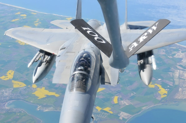 An F-15E Strike Eagle from RAF Lakenheath, England, receives fuel from a KC-135 Stratotanker, May 19, 2017. The KC-135 is assigned to RAF Mildenhall, England. Both aircraft are on their way to support Arctic Challenge 2017, a multinational exercise encompassing 11 nations and more than 100 aircraft. Air Force photo by Tech. Sgt. David Dobrydney
