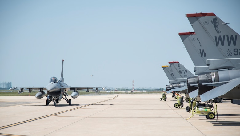 An F-16 Fighting Falcon from Misawa Air Base, Japan taxis back to its spot after a maintenance check at Kunsan Air Base, Republic of Korea, May 19, 2017. While deployed to Kunsan, the 14th FS have flown joint offensive counter-air, defensive counter-air and suppression of enemy air defenses – the primary capability at Misawa AB. (U.S. Air Force photo by Senior Airman Brittany A. Chase)