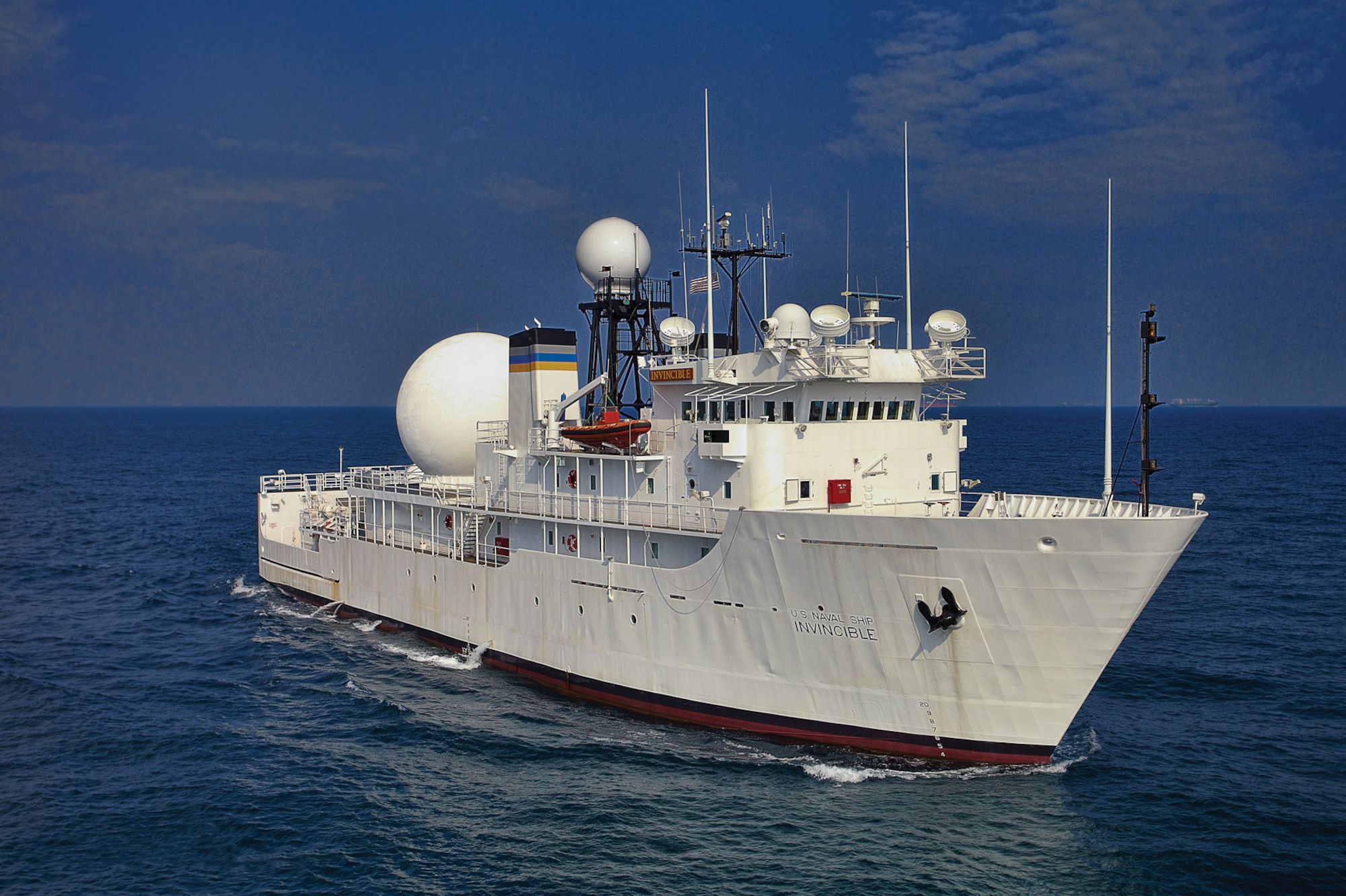 Military Sealift Command missile range instrumentation ship USNS Invincible makes way during sea trials following a regularly scheduled yard period.  The platform is designed to augment the U.S. Ballistic Missile Defense sensor network by providing target discrimination information to U.S. Strategic Command.  (U.S. Navy photo by Tommy Chia)