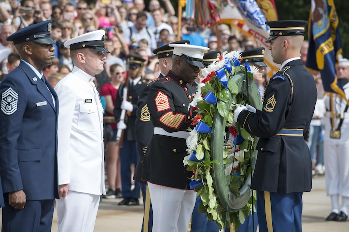 Sergeant Major of the Marine Corps, Ronald L. Green participates in a wreath laying ceremony at the Tomb of the Unknowns, May 20, 2017. Green placed a Marine Corps Seal on the wreath during the ceremony.