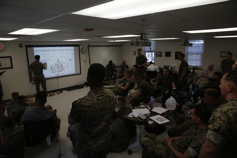 Marines discuss the tactics and maneuvers conducted in a virtual training program during a Spartan Tactical Games competition at Camp Lejeune, N.C., May 16, 2017. The Marines participated in a squad versus squad virtual training exercise to improve their tactics and maneuvers in a controlled environment. The Marines are with 2nd Battalion, 6th Marine Regiment. (U.S. Marine Photo by Lance Cpl Leynard Kyle Plazo)