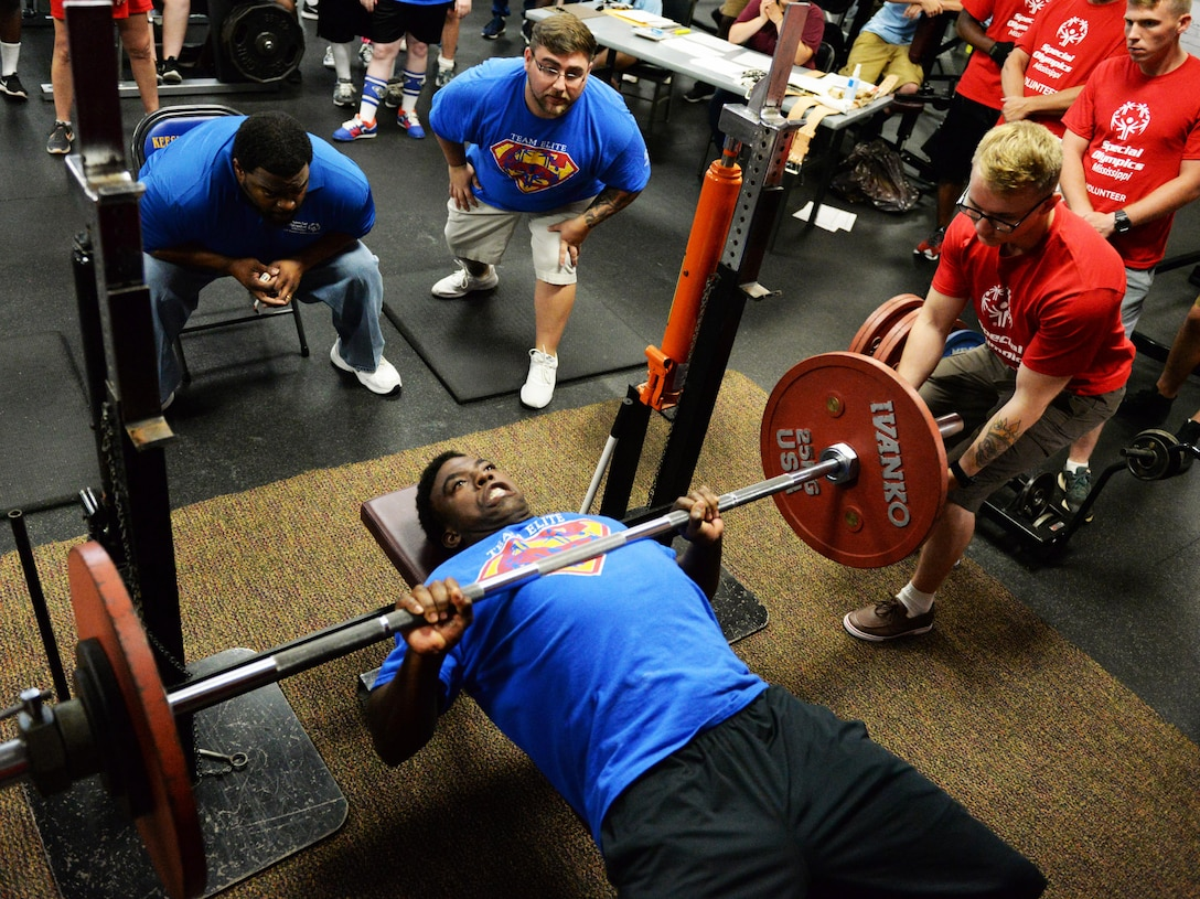 Teddy Underwood, Area 16 athlete, competes in powerlifting during the Special Olympics Mississippi 2017 Summer Games at the Triangle Fitness Center May 20, 2017, on Keesler Air Force Base, Miss. Founded in 1968, Special Olympics hosts sporting events around the world for people of all ages with special needs to include more than 700 athletes from Mississippi. (U.S. Air Force photo by 2nd Lt. Teddy Barbosa)