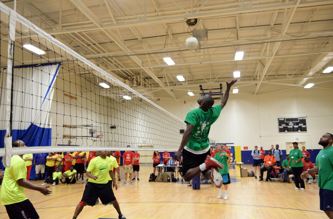 Area 2 and Area 4 athletes compete in the upper division volleyball championship during the Special Olympics Mississippi 2017 Summer Games at the Blake Fitness Center May 20, 2017, on Keesler Air Force Base, Miss. Founded in 1968, Special Olympics hosts sporting events around the world for people of all ages with special needs to include more than 700 athletes from Mississippi. (U.S. Air Force photo by 2nd Lt. Teddy Barbosa)