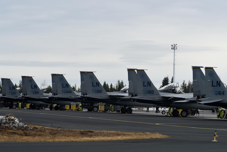 F-15C Eagles from the 493rd Fighter Squadron, Royal Air Force Lakenheath, England, wait to begin the first day of Arctic Challenge 2017 at Rovaniemi Air Base, Finland, May 22. The U.S. shares a commitment to promote peace and stability, and seeks opportunities such as participating in ACE 17 to continue developing its strong relationships with European allies and partners. (U.S. Air Force photo/Airman 1st Class Abby L. Finkel)