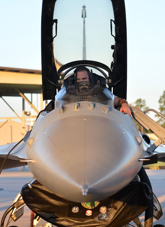 U.S. Air Force Staff Sgt. Devin Borger, 20th Aircraft Maintenance Squadron tactical aircraft maintainer, performs a pre-flight check on an F-16CM Fighting Falcon during operational readiness exercise Weasel Victory 17-07 at Shaw Air Force Base, S.C., May 15, 2017. Pre-flight checks are performed by maintainers and pilots to ensure aircraft meet all safety specifications and are ready for flight. (U.S. Air Force photo by Airman 1st Christopher Maldonado)