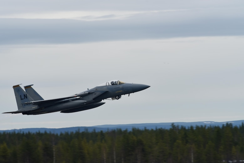 A 493rd Fighter Squadron F-15C Eagle from the 48th Fighter Wing at Royal Air Force Lakenheath, England, takes off at Rovaniemi Air Base, Finland, May 22, in support of Arctic Challenge 2017. Exercises such as ACE 17 help improve the ability of participating nations' armed forces to collectively conduct the full spectrum of military operations. (U.S. Air Force photo/Airman 1st Class Abby L. Finkel)