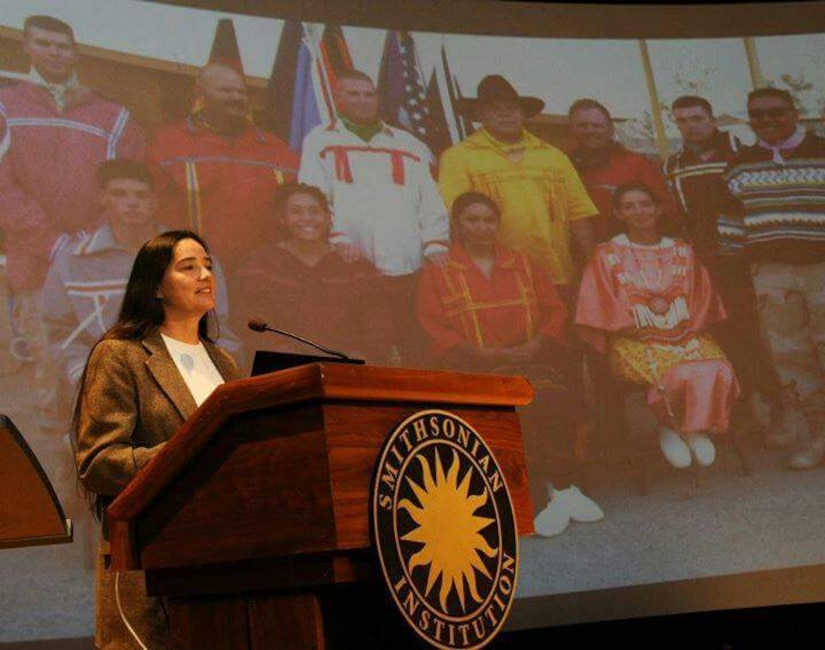 Retired Army Sgt. 1st Class Debra Kay Mooney speaks at the Smithsonian Institution's National Museum of the American Indian in Washington. Courtesy photo