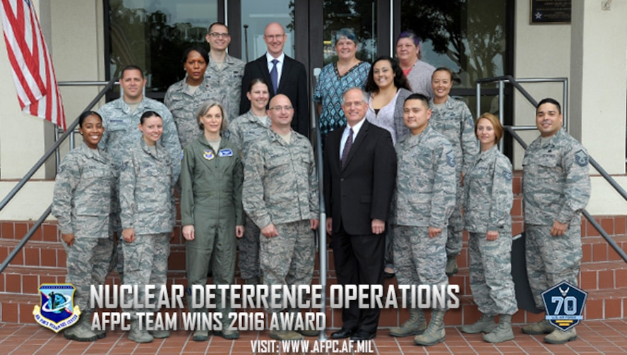Air Force officials recently announced the winners of the 2016 Nuclear Deterrence Operations, and Nuclear and Missile Operations Awards. Among the distinguished recipients was the Air Force Personnel Center's Personnel Reliability Program Administrative Qualifications Cell as the winner of the 2016 NDO Team of the Year. (U.S. Air Force courtesy photo)