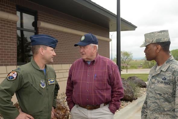 From left to right, Col. Gentry Boswell, the commander of the 28th Bomb Wing, Sonny Perdue, the U.S. Secretary of Agriculture, and Chief Master Sgt. Toraino Hodges, the chief enlisted manager of the 28th Force Support Squadron, stop by the Visitor Control Center at Ellsworth Air Force Base, S.D., May 19, 2017. This was his first visit to a military installation since becoming the secretary. (U.S. Air Force photo by Staff Sgt. Hailey R. Staker)