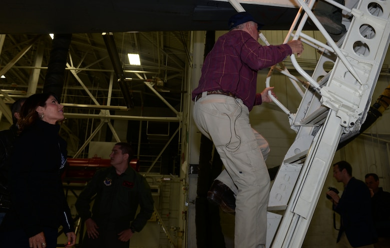 Sonny Perdue, the U.S. Secretary of Agriculture, ascends a ladder into a B-1 bomber at Ellsworth Air Force Base, S.D., May 19, 2017. Perdue grew up in Georgia near Robins Air Force Base where the Air National Guard flew B-1s. (U.S. Air Force photo by Staff Sgt. Hailey R. Staker)