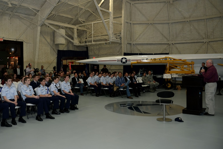 Sonny Perdue, the U.S. Secretary of Agriculture, addresses town hall attendees at the South Dakota Air and Space Museum, Box Elder, S.D., May 19, 2017. During his visit to Ellsworth Air Force Base, Perdue toured a B-1 bomber and discussed U.S. Department of Agriculture employment opportunities with service members who are transitioning from the Department of Defense. (U.S. Air Force photo by Staff Sgt. Hailey R. Staker)