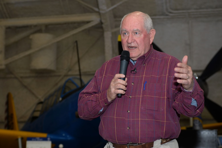 Sonny Perdue, the U.S. Secretary of Agriculture, speaks at a town hall at the South Dakota Air and Space Museum, Box Elder, S.D., May 19, 2017. Perdue spoke on employment, entrepreneurship and educational opportunities in the U.S. Department of Agriculture for veterans, transitioning service members and their families. (U.S. Air Force photo by Staff Sgt. Hailey R. Staker)