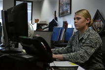 U.S. Air Force Senior Airman Megan Miller, 20th Fighter Wing Judge Advocate military justice paralegal, inputs an Airman's information into a personal data sheet at Shaw Air Force Base, S.C., May 9, 2017. The form includes details about a service member's military career and is provided to court members participating in a court-martial. (U.S. Air Force photo by Airman 1st Class Kathryn R.C. Reaves)