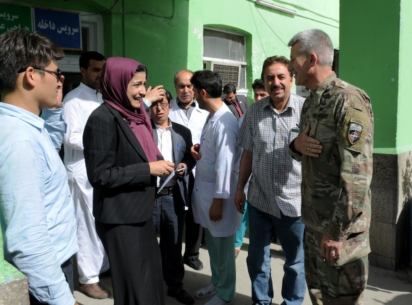Army Gen. John W. Nicholson, Resolute Support commander, speaks to nurses, medical staff and hospital managers at the Kabul Women's Hospital in Afghanistan, May 18, 2017. Nicholson emphasized the importance of women in peace building and in strengthening the future of Afghanistan. Nicholson toured the hospital to oversee improvements that began last December. He was accompanied by Afghan Defense Minister Mohammed Masoom Stanekzai, Sidqa Abudllah Adeeb-Rabia Balkhi, hospital director and Ambassador Hugo Llorens, the special chargé d'affaires of the U.S. Embassy in Kabul. Air Force photo by Tech. Sgt. Robert M. Trujillo