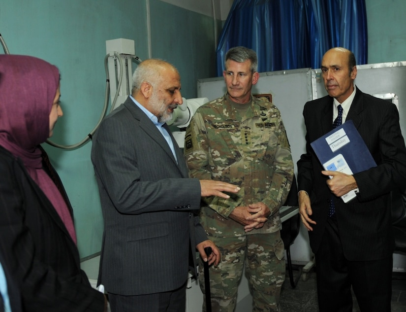 Army Gen. John W. Nicholson, Resolute Support commander, tours the Kabul Women's Hospital in Afghanistan, May 18, 2017. The general inspected improvements at the hospital that began last December. He was accompanied by Afghan Defense Minister Mohammed Masoom Stanekzai, Sidqa Abudllah Adeeb-Rabia Balkhi, hospital director and Ambassador Hugo Llorens, right, the special chargé d'affaires of the U.S. Embassy in Kabul. Air Force photo by Tech. Sgt. Robert M. Trujillo