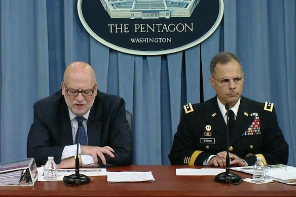 John Roth, left, acting undersecretary of defense, comptroller and chief financial officer and Army Lt. Gen. Anthony R. Ierardi, director, Force Structure, Resources and Assessment, Joint Staff, brief reporters at the Pentagon on President Donald J. Trump's fiscal year 2018 Defense Department budget request, May 23, 2017.