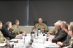 Army Gen. Gustave F. Perna (center), commanding general of the U.S. Army Materiel Command visited DLA Distribution May 18 for an overview of DLA Distribution, and a roundtable discussion with Distribution leadership.