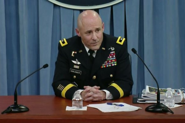 Army Budget Director Maj. Gen. Thomas Horlander briefs Pentagon reporters on the president's fiscal year 2018 defense budget proposal, May 23, 2017.