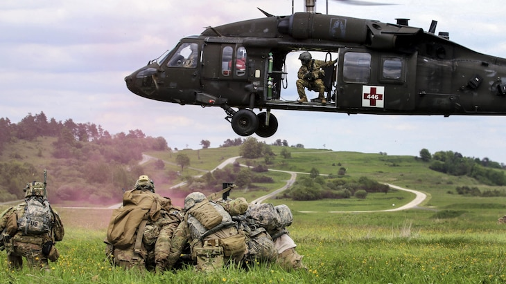 Soldiers conduct an air medical evacuation exercise during training in Grafenwoehr, Germany, May 22, 2017. The training tested the ability of soldiers to deploy worldwide on short notice. Army photo by Staff Sgt. Kathleen V. Polanco