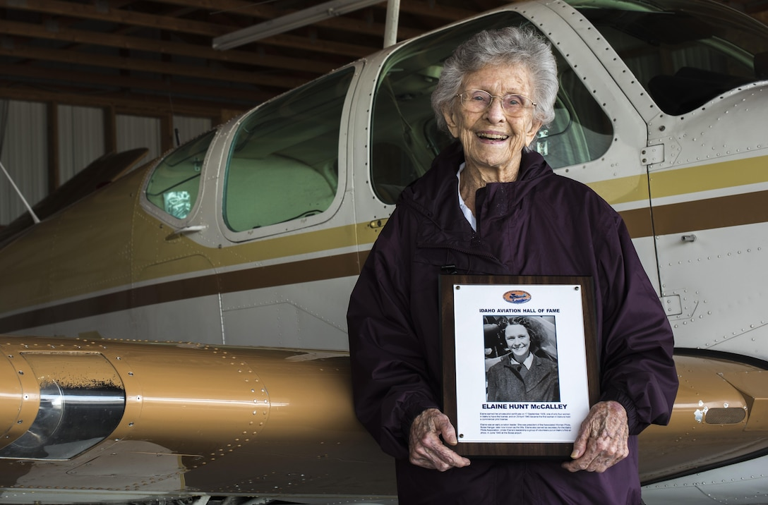 Elaine McCalley poses for a photo in front of an aircraft April 10, 2017, at Mountain Home municipal airport. She was inducted into the Idaho Aviation Hall of Fame.(U.S. Air Force Photo by Senior Airman Jeremy L. Mosier)