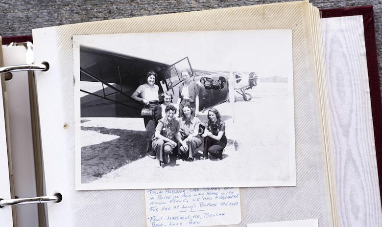 Elaine McCalley poses with her friends in front of a new plane in Boise, Idaho. She was inducted into the Idaho Aviation Hall of Fame.(U.S. Air Force Photo by Senior Airman Jeremy L. Mosier)
