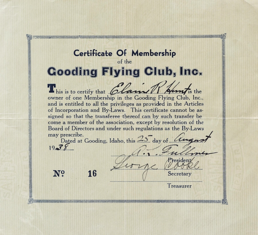 Elaine McCalley received her certificate of membership August 25, 1938, in Gooding, Idaho. She was the first female commercial pilot in Idaho. (U.S. Air Force Photo by Senior Airman Jeremy L. Mosier)