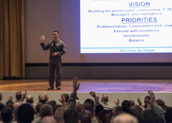 U.S. Air Force Col. Paul Moga, 33rd Fighter Wing commander, discusses the wing mission, vision and his priorities during his first all-call May 19, 2017, at Eglin Air Force Base, Florida. Moga stated that the recent success and accomplishments are clearly due to the hard work of the men and women here, but explained the mission is not over and to prepare for change. (U.S. Air Force photo by Staff Sgt. Peter Thompson)