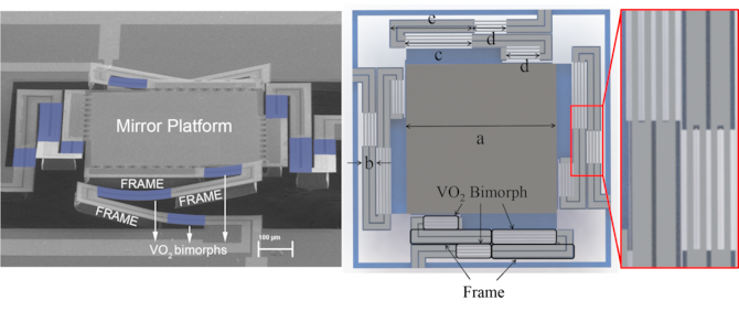 On the left, an image of the final VO2 based MEMs device with the bimorph in blue. On the right, a top view of the device. This device was created under a cooperative research and development agreement between the Air Force Research Laboratory Sensors Directorate and Michigan State University. Image courtesy of Michigan State University.