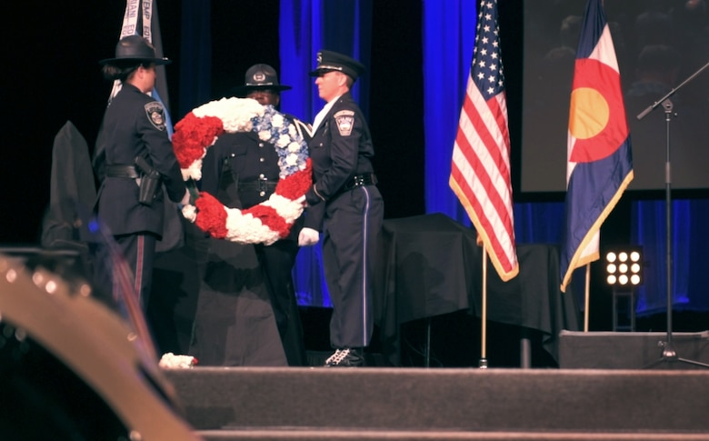 COLORADO SPRINGS, Colo. – Local and military law enforcement officers participate in a wreath laying ceremony to commemorate National Police Week, May 19, 2017, at the New Life Church, Colorado Springs, Colo. The ceremony was the final event for National Police Week, May 15-19, where agencies held various events throughout the week to honor law enforcement officers who have lost their lives in the line of duty. (U.S. Air Force photo by David Meade)